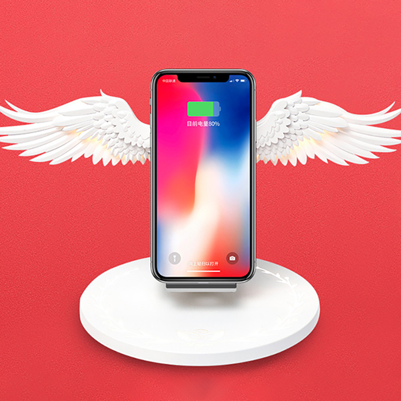 Cell Phone - 10W Wireless Charger Angel Wings Night Light Mobile Phone Wireless Charger for Android Apple USB Fast Charge with Night Light