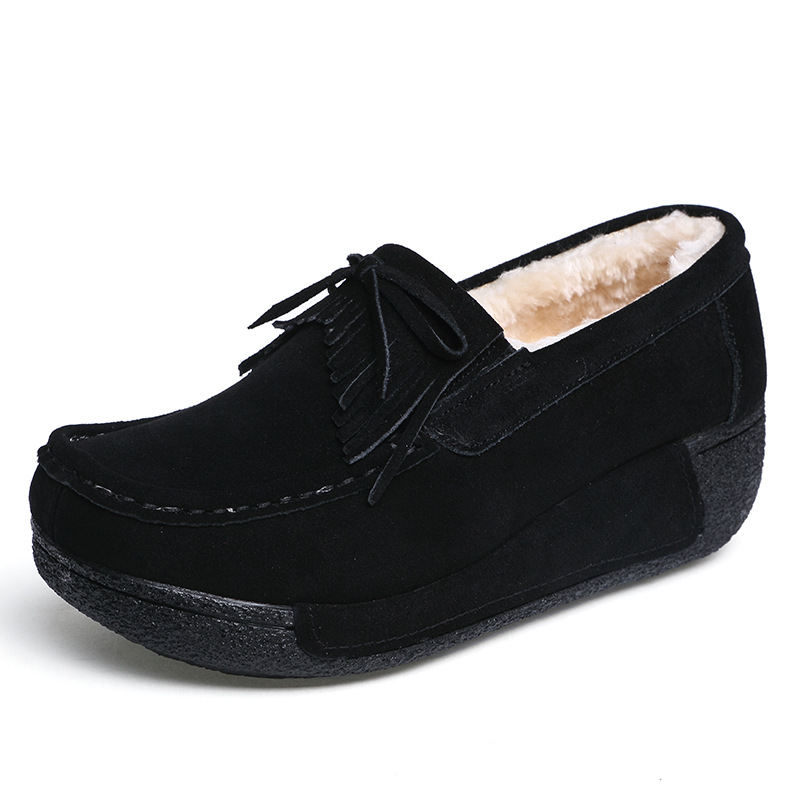 Image 4 - Plardin New Winter Women Flat Platform Shoes Genuine Leather fringe Cotton addition Ladies Flats Creepers Moccasins Oxford Shoes-in Women's Flats from Shoes
