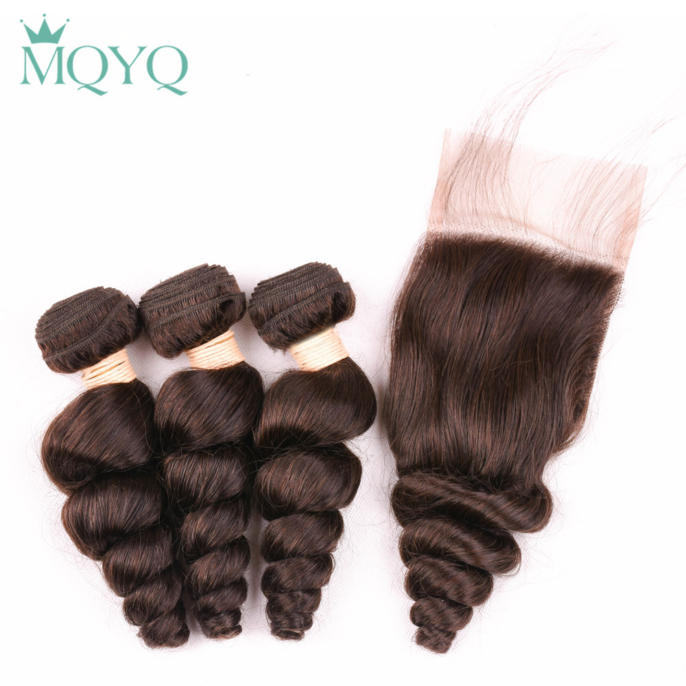 MQYQ Loose Wave Bundles With Closure 3 Bundles Brazilian Hair Weave Bundles #2 Dark Brown Human Hair Bundles With Closure 4 pcs