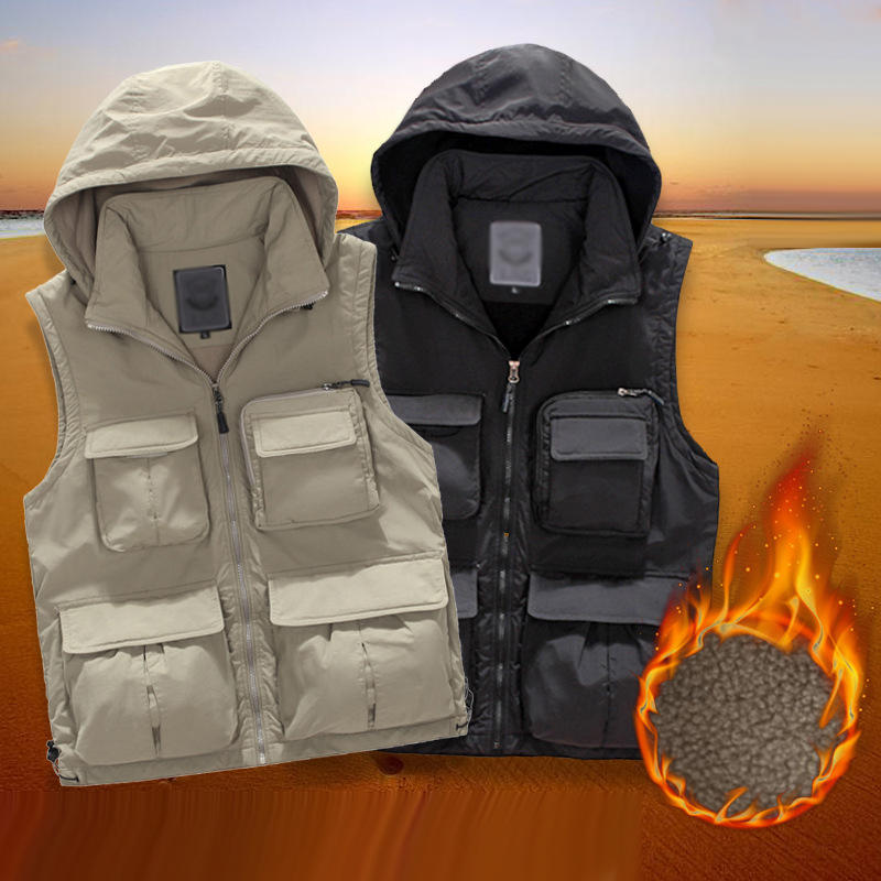 Men Keep Warm Outdoor Leisure Photography Vests Male Outdoor Multi-pocket Vest Multifunction Fishing Waistcoat Cargo Coats pocket