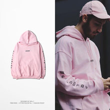 Mazefeng Design Male Clothing Autumn Winter Hoodies Letter Men Casual Hip hop Pink Hooded Loose Style