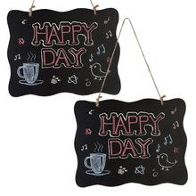2pcs Wood Tabletop Chalkboard Double Sided Blackboard Message Board Children Kids Toy Wedding Party Table Number Place Tag(China)