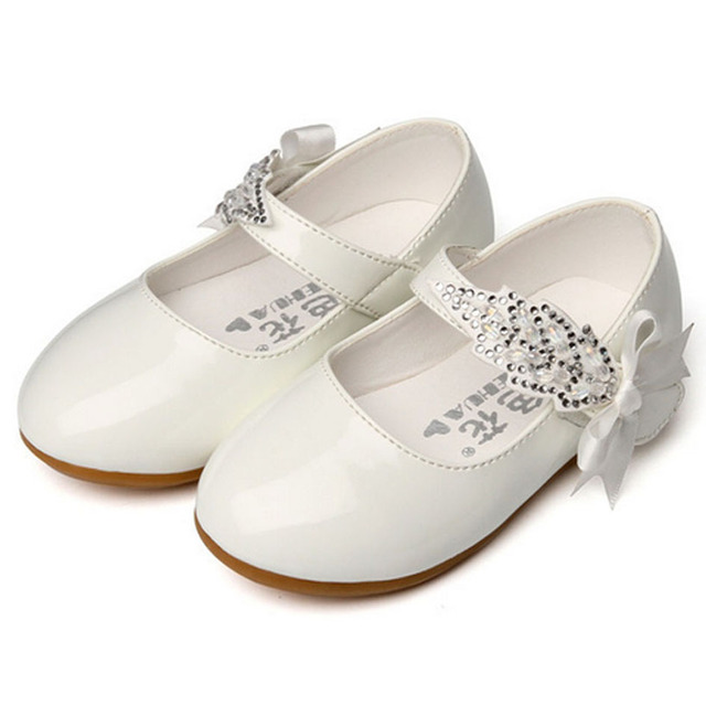 2017 Spring Toddler White Shoes Ankle Strap Baby Party Shoes Walkers Wedding Baby Girl Shoes Fashion Fancy Princess Ballet Flats