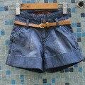 8pcs 1/lot Children shorts Girls baby cowboy shorts Belt big shorts wholesale 2017