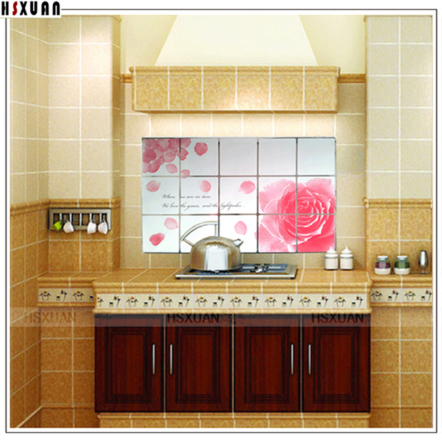 Awesome Lemonu0026pink Rose Picture Decoration Wallpapers Self Adhesive Kitchen Oil  Proof/ Bathroom Waterproof Wall Stickers Home