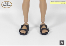 1/6 Scale Brown/Black Beach Shoes Model ZYTOYS ZY1015 Super High Heel Sandals for Male Body