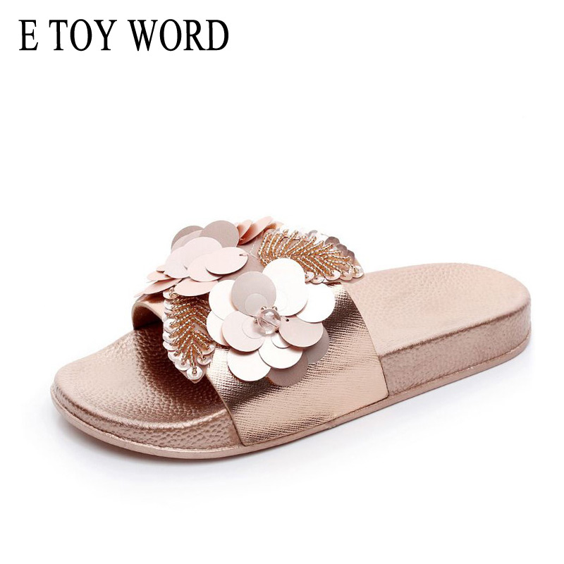 E TOY WORD 2018 New Women bright Slippers Spring Summer Autumn Home Beach Slippers Home Flip Flops Comfortable Flat Shoes vanled 2017 new fashion spring summer autumn 5 colors home plush slippers women indoor floor flat shoes free shipping