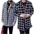 Coreano 2016 nova grosso quente brasão Mens Trench sólidos longo casaco homens outono inverno algodão Casual sobretudo homens M-2XL A8789