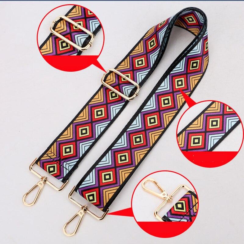 Womens Fashion 120cm Woven Handles For Handbags Strap Shoulder Raibow Rivets Handbags Cross Body Messenger Bag Strap Belt