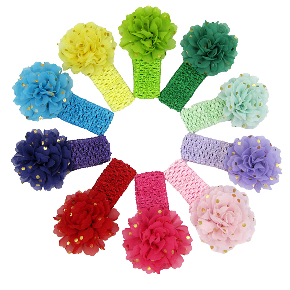 10Pcs/Lot Elastic Baby Girls Headbands Lovely Chiffon Big Flower with Sequins Hair Accessory Bands Headwear Headband 15pcs lot stretch elastic tutu headbands diy headband hair accessories 1 5 inch crochet headband free shipping 33colors in stock