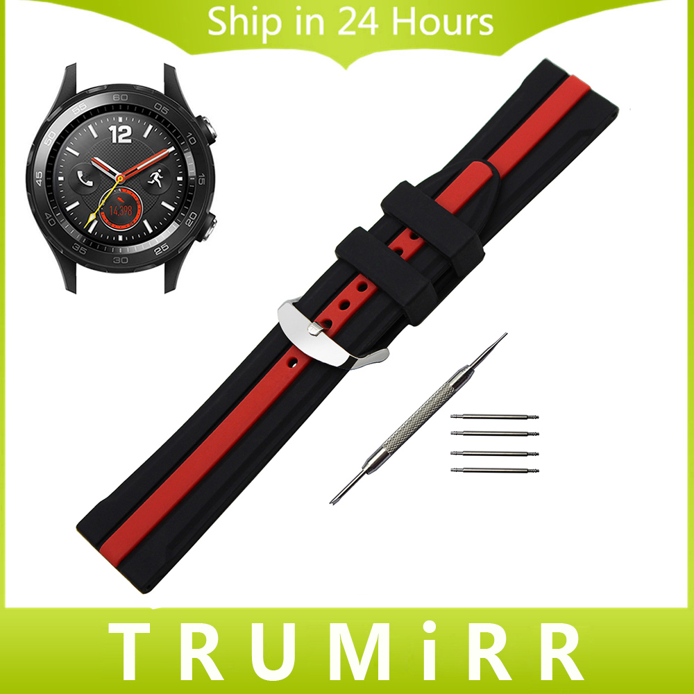 Silicon Rubber Band for Huawei Watch 2 Pebble Time Round 20mm Men Bradley Timepiece Stainless Steel Buckle Strap Wrist Bracelet 20mm silicone rubber watch band for pebble time round 20mm bradley timepiece stainless steel buckle strap resin bracelet black
