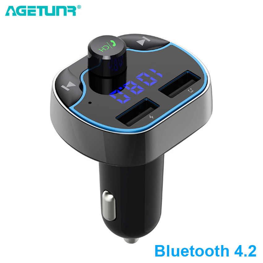 AGETUNR Auto Mp3 Muziekspeler Bluetooth 4.2 Ontvanger Fm-zender 2 USB Autolader U Disk TF Card Lossless Muziek speler