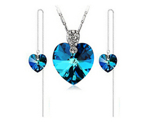 2017 nueva llegada de venta caliente de la manera 925 de plata azul circón stud pendientes collares pendientes conjuntos de joyería de moda al por mayor