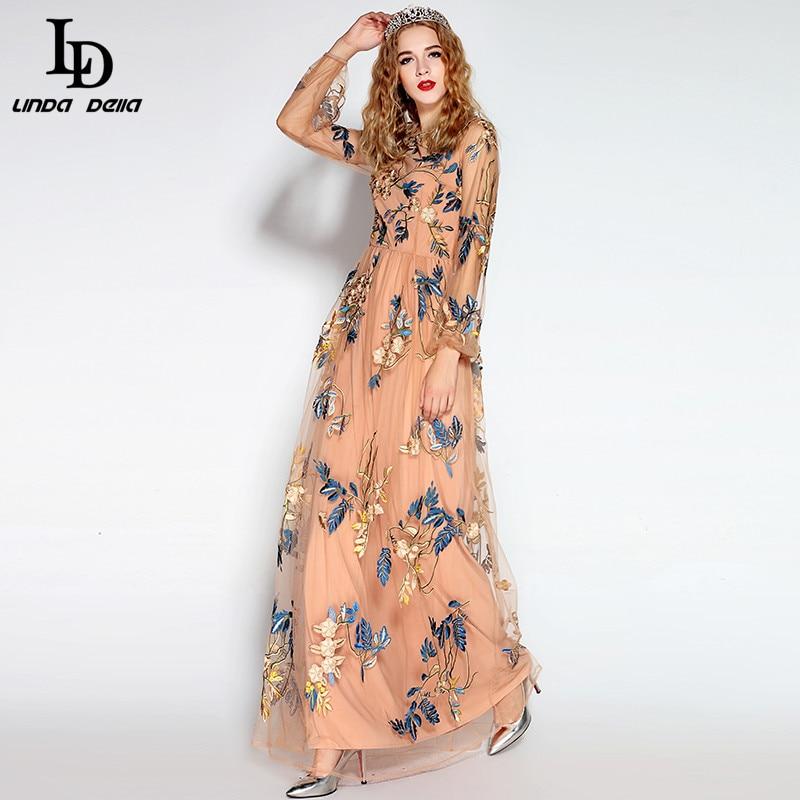 Ld linda della elegant women maxi dress tulle flower