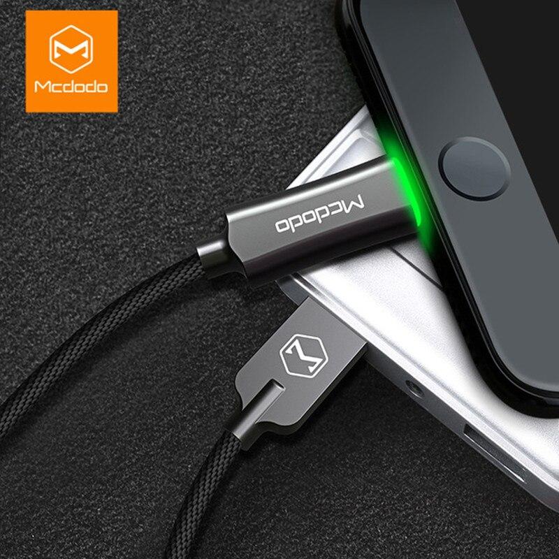 MCDODO Cable USB para Apple iPhone XS MAX X 7 5 6 S plus cargador de Cable de desconexión automática de carga rápida cable de datos de cable de iluminación