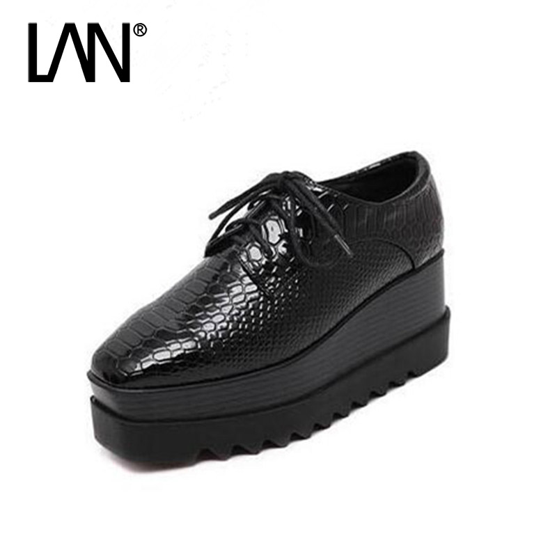 ФОТО 2017 Spring Oxfords Shoes For Women Black Platform Lace Up Star Creepers Women's Oxfords Shoes Casual Ladies Flats Shoes Loafers
