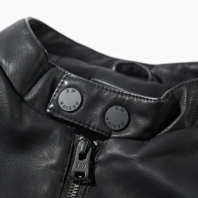 De 78 Mens Stand Motocicleta Negro Collar Chaqueta Cuero EqSqpwY