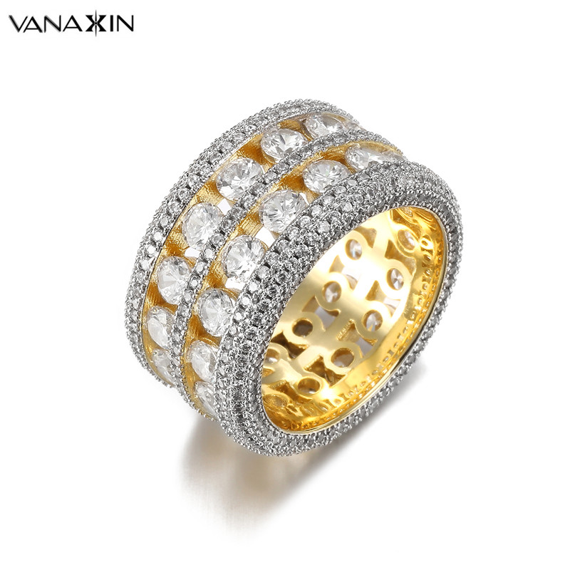 VANAXIN Bling Bling CZ Crystal Wide Ring Unisex Punk Hip Hop Rings Women & Men Zirconi Gold Silver Color Trendy Party Jewelry boapt unisex letter embroidery cotton women hat snapback caps men casual hip hop hats summer retro brand baseball cap female