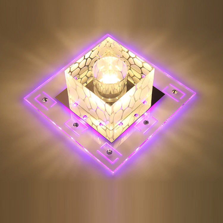 цена на Chandelier Ceiling Cube Light Chandeliers For The Hall Square Suspended Lamp Lighting Crystal Lights Simple Aisle Led Corridor