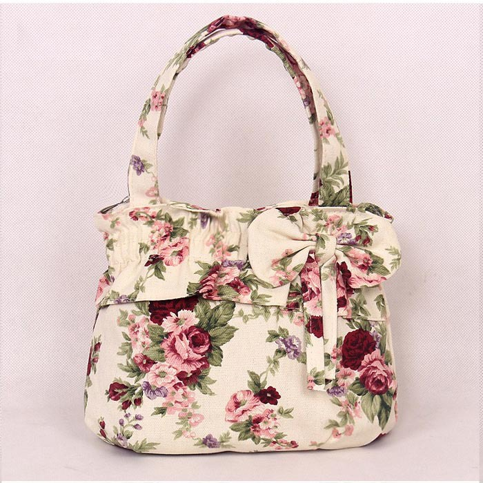 7296fdd0c8 New Fashion Vintage Canvas Flower Tote Bag Womens Small Size Handbags  Shopping   Travel TOTE Bag Bowknot MINI Handbag-in Top-Handle Bags from  Luggage   Bags ...