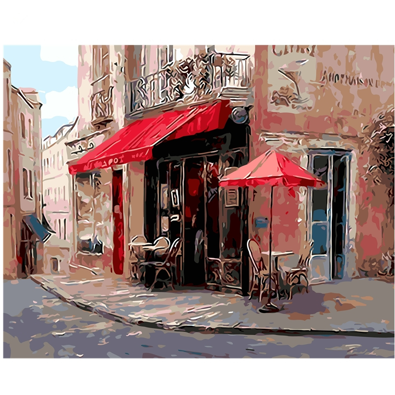 Diy 40x50cm street corner diy digital oil painting by for Home decor 86th street