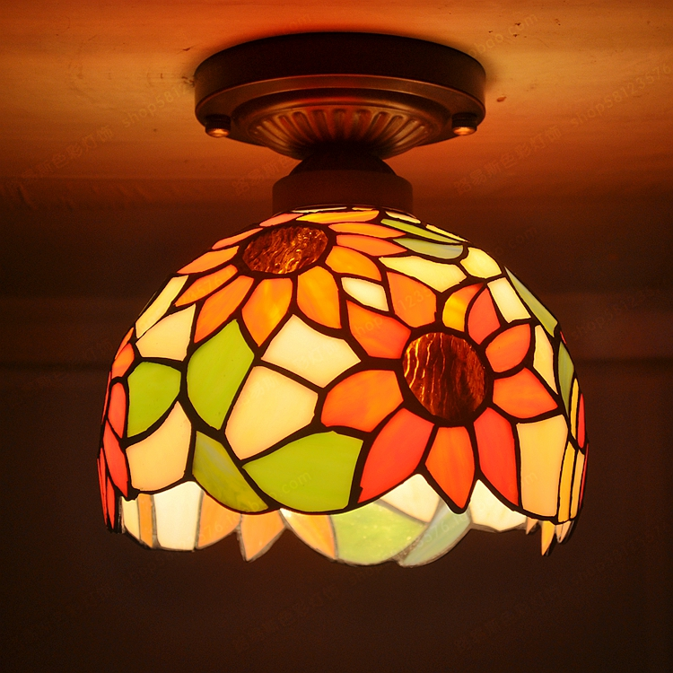 Modern Continental sunflowers aisle lighting Small ceiling Tiffanylamp kitchen Tianyuan Yang Taiwan Windows and glass lamp