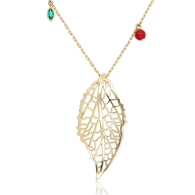Dainty Nature Leaf Shape Gold Color Plated Hollow Necklace 2019 Womens fashion jewelry accessories commemorative gifts