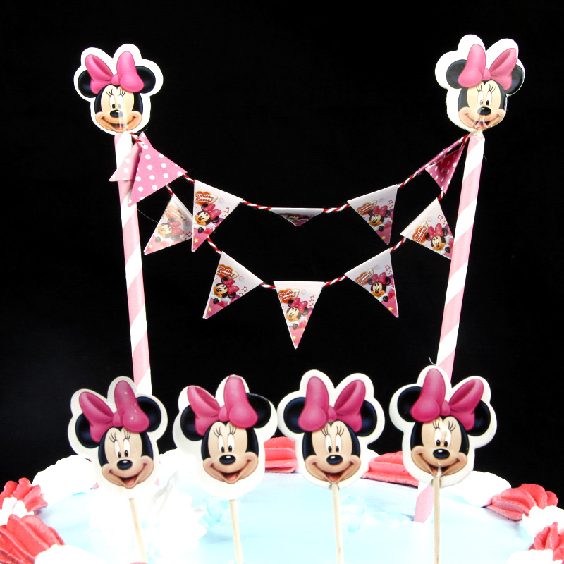 Minnie Mouse Cupcake Ice Cream Cake Toppers Wraps For Kids Happy