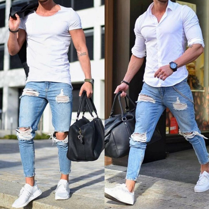New Men's   Jeans   Stretch Destroyed Ripped Design Fashion Ankle Zipper Skinny   Jeans   For Men Plus Size