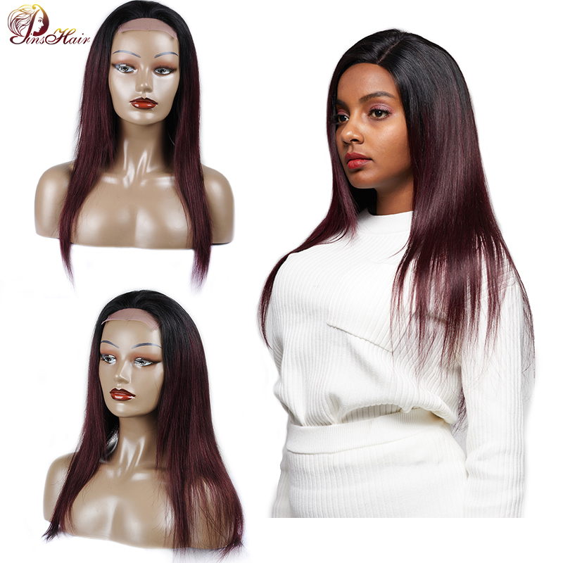 99J Red Wigs Indian Straight Lace Front Human Hair Wig Black Women 180 Density Lace Front Human Hair Wig 4*4 Closure Nonremy Wig