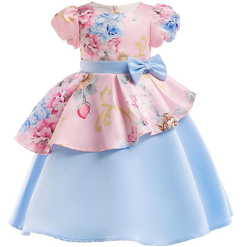 Girls Christmas Flower and Bird Dress Girl Princess Costume Dresses Girl Party Kids Children Prom Gown Vestido Formal Dress Bow 5