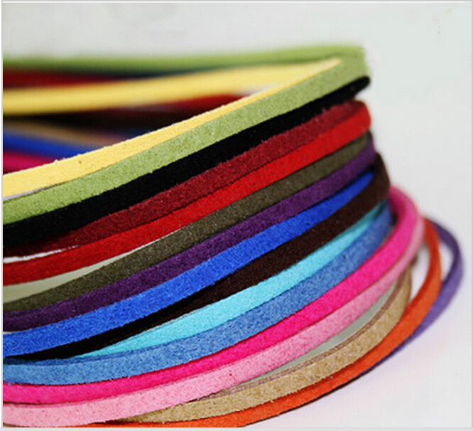 New ! High Quality 3mm 17colors 100CM Faux Suede Rope String Cord for Bracelet and Necklace faux leather rope vintage necklace