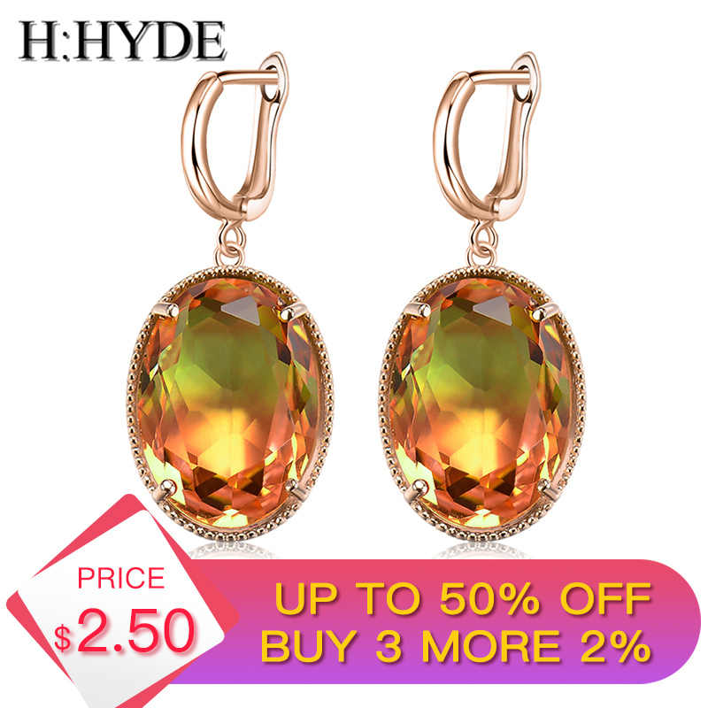 H:HYDE New Fashion Colorful Crystal Earrings For Women Girls Vintage Hoop Earrings Statement Wedding Jewelry aros mujer oreja