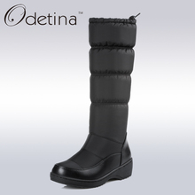 Odetina Waterproof Snow Boots Large Size Women Knee High Boots Flat Heels Handmade 2016 Winter Boots Women Fashion Shoes Brand
