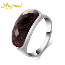 Ajojewel Newest Simple Designer Trendy Coffee Resin Stone Female Ring White Gold Plated