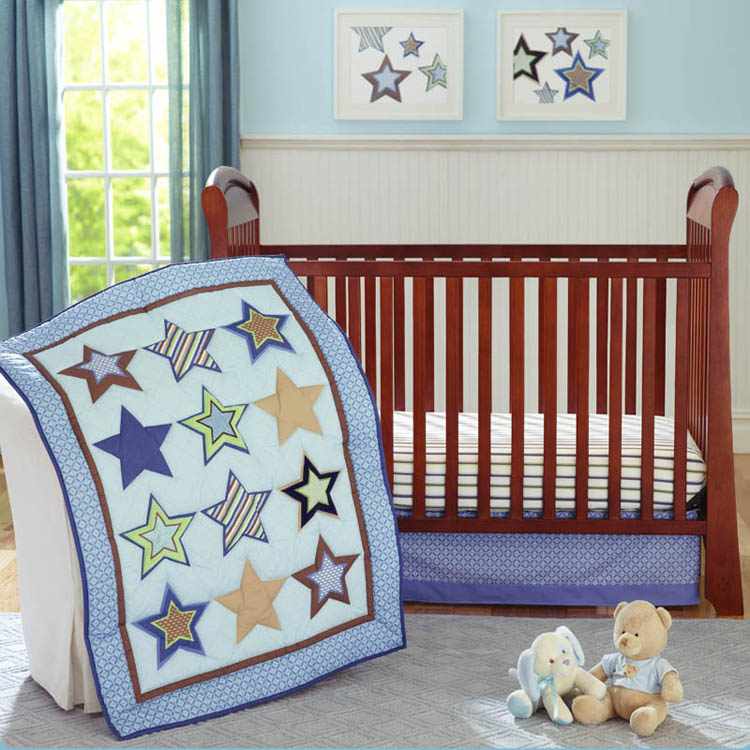 Promotion! 4pcs Embroidery Boy Baby Crib Bedding Sets Baby Duvet set ,include (bumpers+duvet+bed cover+bed skirt)