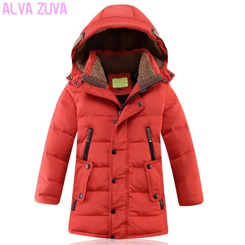 ALVA ZUVA Children Winter Jackets Kids Teenager Thickening Warm White Duck Down Coats For Boys Size 130-170 Outerwear Cyf166 new queen size bed white thickening folding luxury duck down mattress topper 100% cotton shell 95% duck down filling quilted