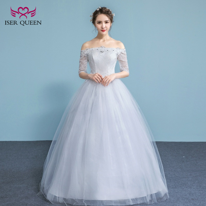 Discount Classic A Line Lace Wedding Dress 2018 Affordable: Elegant 1/2 Sleeves Crystal Beads Lace Vintage Wedding