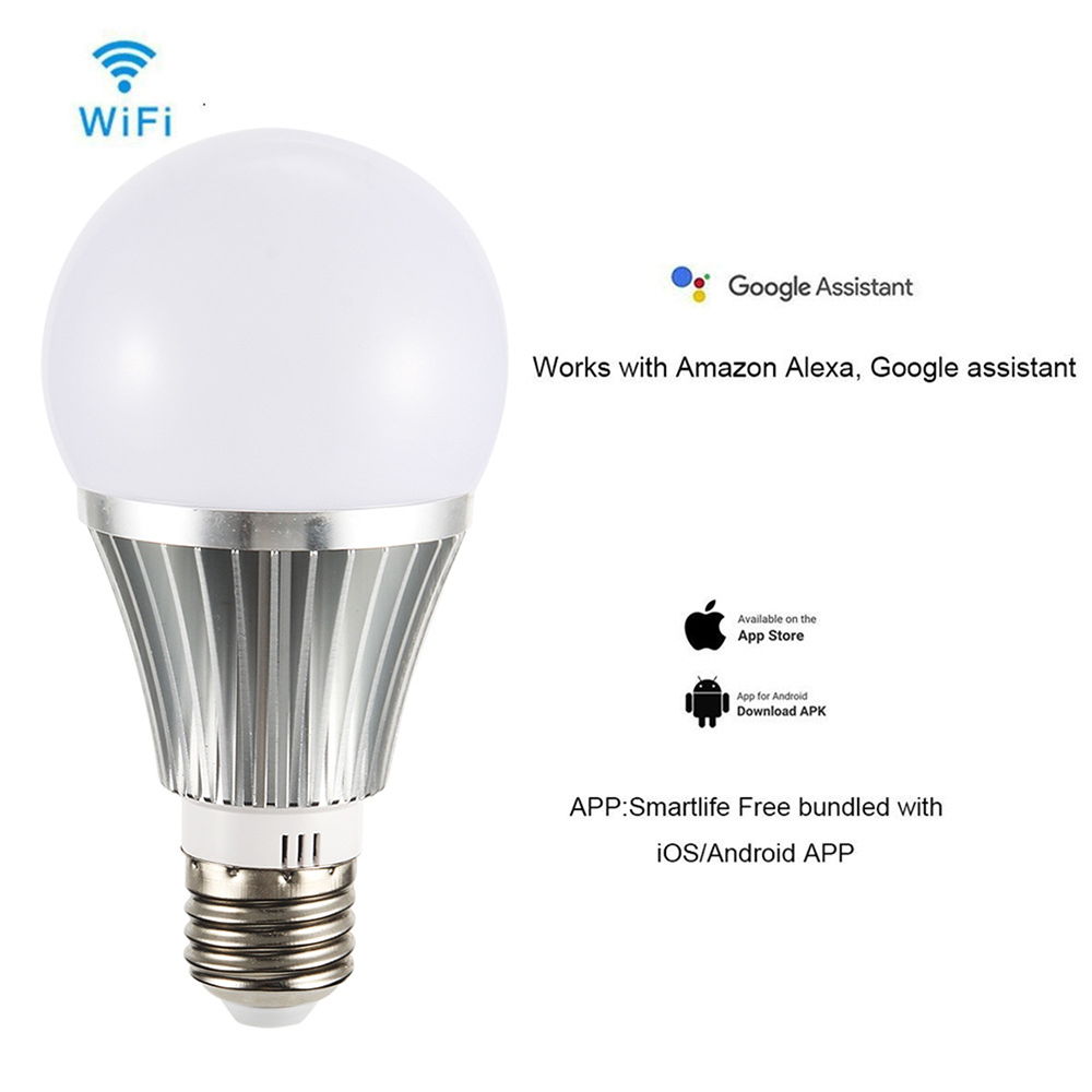 US $15 73 11% OFF|Smart 85 265V RGBW E27/E26/B22 LED Bulb 18W 1000lm Smart  2 4GHz Wifi Remote Control Light Bulb Works with Alexa Google Home APP-in