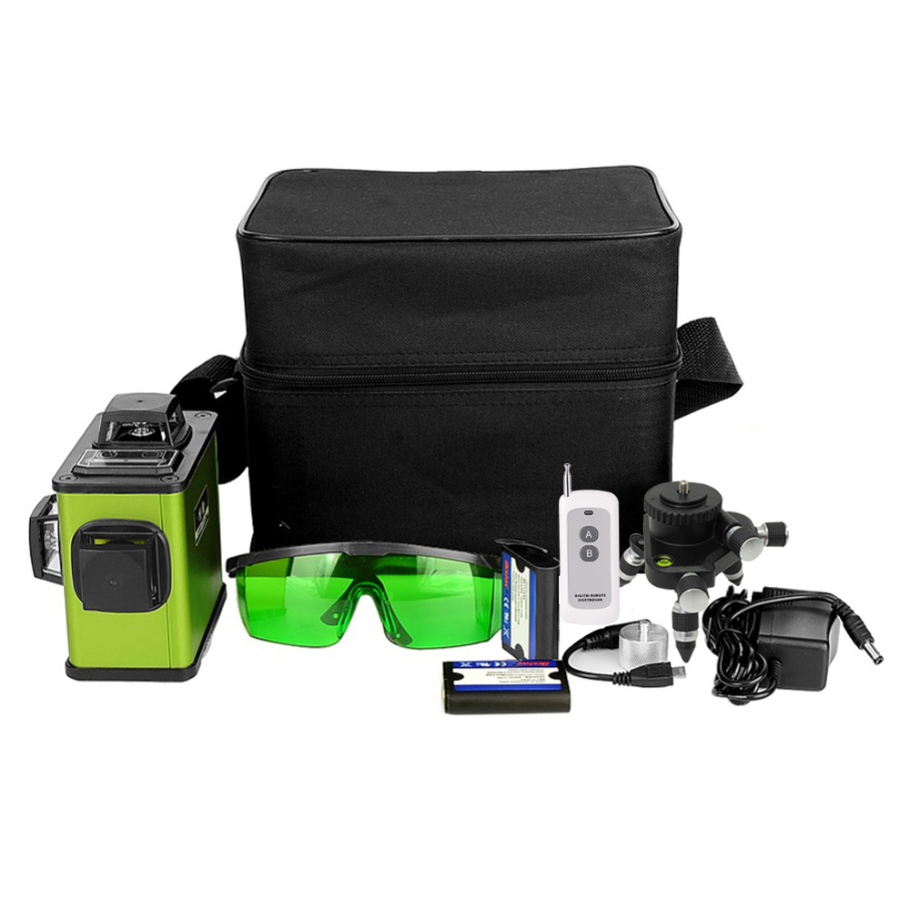 3D 12Lines Green Laser Level Lithium Battery Advanced Remote Control Self Leveling Horizontal And Vertical Cross