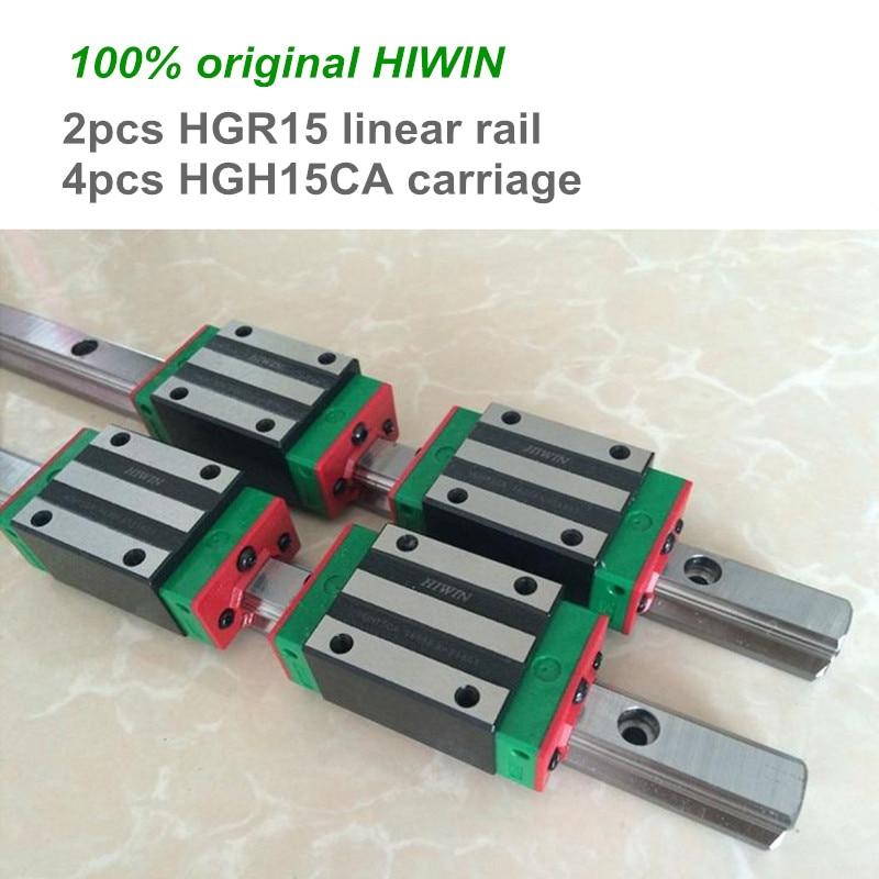 2 pcs 100% original HIWIN linear guide rail HGR15 300 400 500 600 800 mm with 4 pcs HGH15CA linear bearing blocks for CNC parts цена и фото