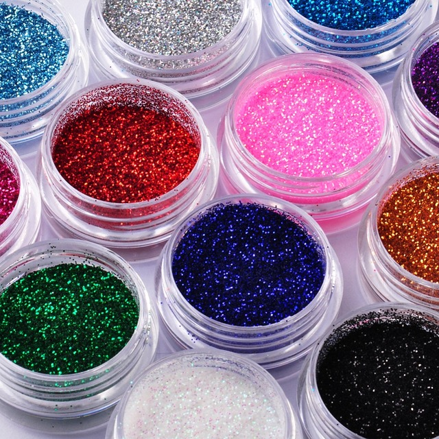 Large Set of Colorful Powdered Nail Glitter