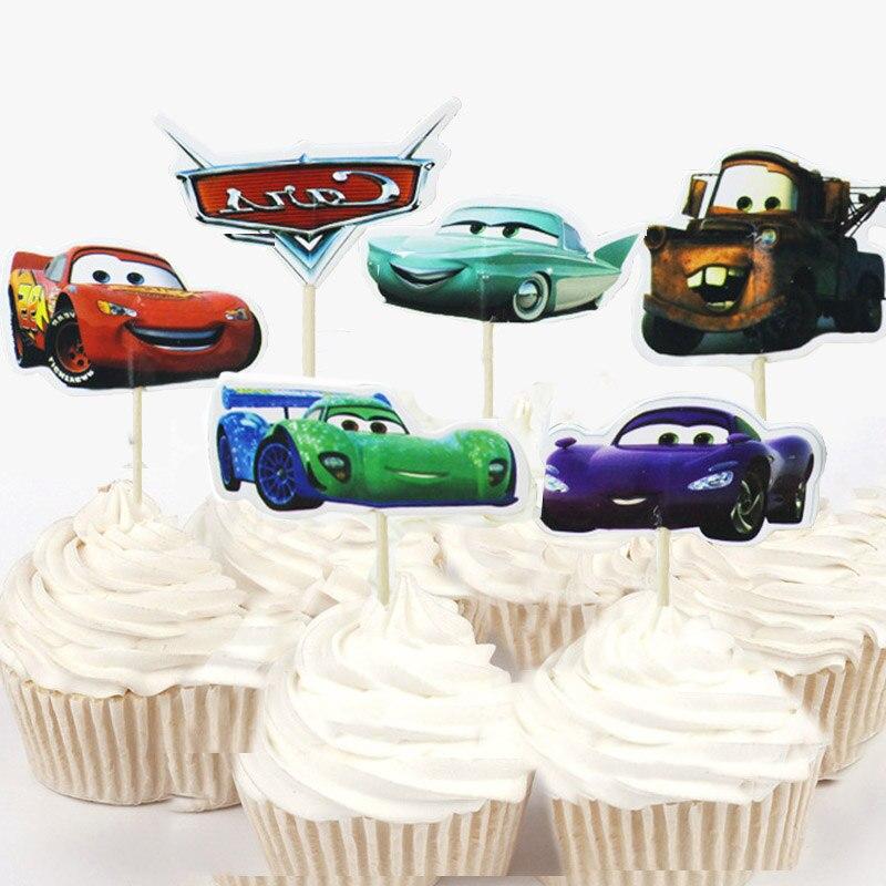 24pcs/48pcs Disney The Cars Lightning McQueen Cupcake ...