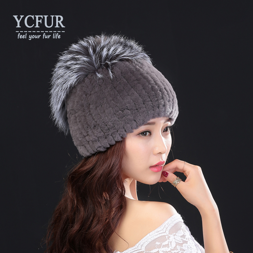 YCFUR Winter Warm Caps Hats Women Knit Real Rex Rabbit Fur Hat Cap With Silver Fox Fur Trim Winter Fur Beanies Skullies Female 2pcs new winter beanies solid color hat unisex warm soft beanie knit cap winter hats knitted touca gorro caps for men women