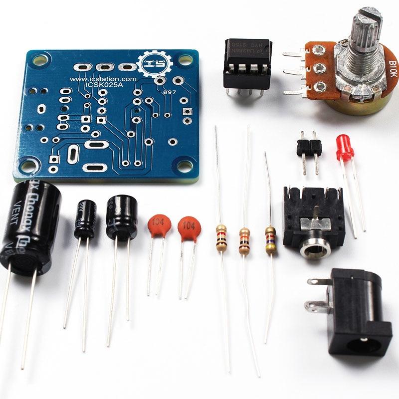 5V-12V LM386 Amplifier Board DIY Kit Components