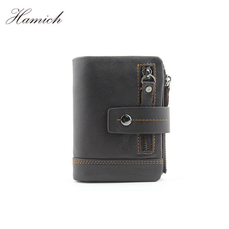 Genuine Leather Men Wallet Small Men Walet Zipper&Hasp Male Portomonee Short Coin Purse Brand Black Male Carteira