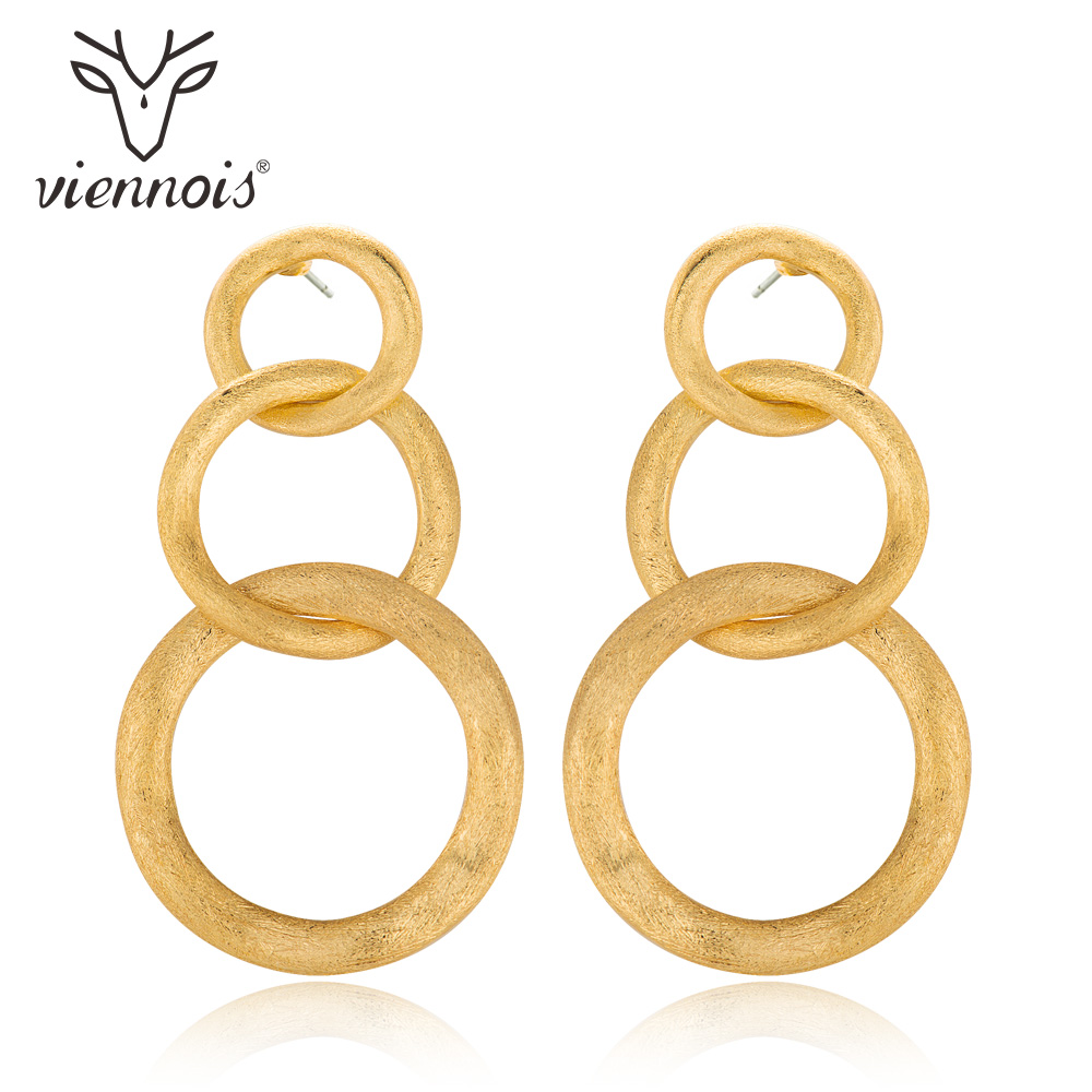 Viennois Drop Earrings Triple Circle Earring for Women Polish Gold Fashion Jewelry european gold polish