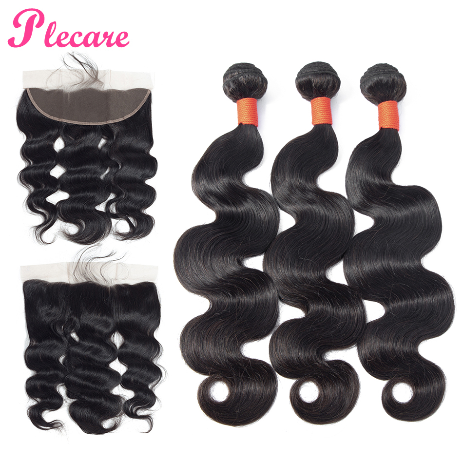 Plecare Bundles With Frontal Malaysian Body Wave Bundles With Frontal 100 Human Hair Weave 3 Bundles