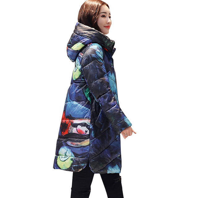 Cheap Ukraine Hooded Printed Thicker Winter Down Cotton Jacket Women Long Coat 2018 new Plus size padded Coats Casual Female Parka 402