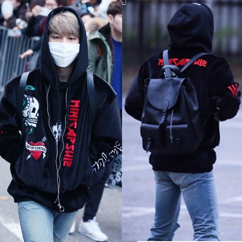 Kpop exo à l'épreuve des balles Junior JIMIN avec veste à glissière hommes et femmes baseball uniforme style broderie velours vêtements